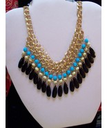 Beaded necklace in blue and black - $10.89