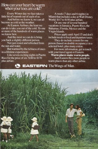 1973 Eastern Airlines sugar cane field visits print ad