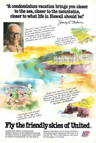 1978 United Airlines Hawaii condo vacation plans print ad