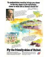 1978 United Airlines Hawaii condo vacation plans print ad - $10.00