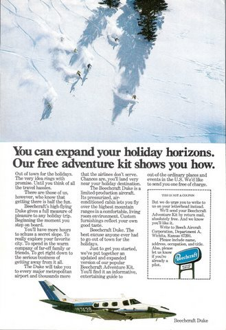 1977 Beechcraft Duke aircraft mountain skiing print ad
