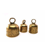 Lot of Three  (3) Etched Brass Bells 1960s Three Graduated Sizes Table H... - $28.90