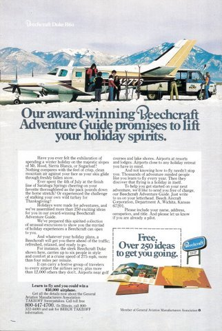 1977 Beechcraft Duke B60 holiday guide promo print ad