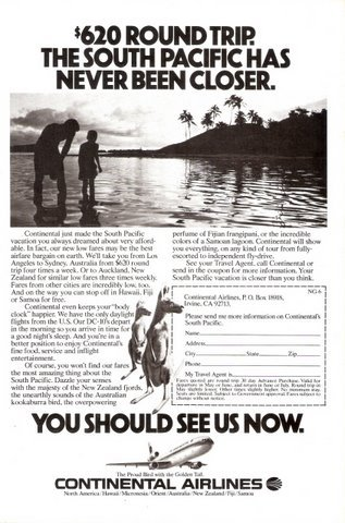 1979 Continental Airlines South Pacific holiday print ad
