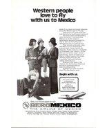 1975 AeroMexico Mexico Airline air stewardess print ad - $10.00