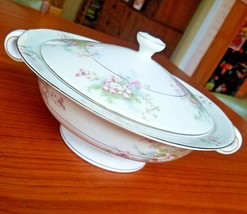 "Theodore Haviland China Apple Blossom Pattern Covered Vegetable Bowl Handled 10"" - $58.04"