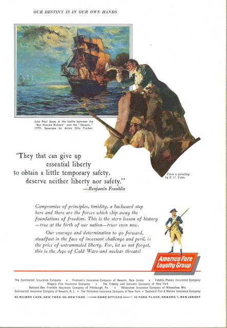 1962 Continental Insurance America Fore Group print ad