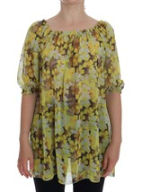 Dolce & Gabbana Yellow Floral Transparent Blouse - $264.16
