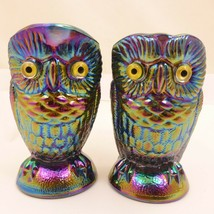 "3.5"" PURPLE AMETHYST Iridescent Carnival Glass OWL Sugar Creamer Imperia... - $18.77"