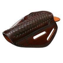 Ruger GP100 3 Slot Belt Leather Holster Basket Weave Brown Black Right H... - $74.99
