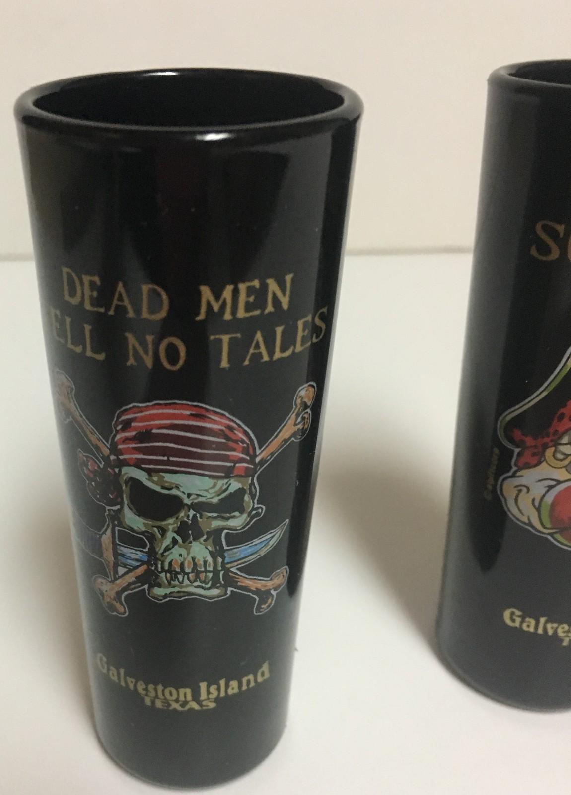 Galveston Island Texas Souvenir Shot Glasses Set of 2 Surrender No Tales 2 Oz.