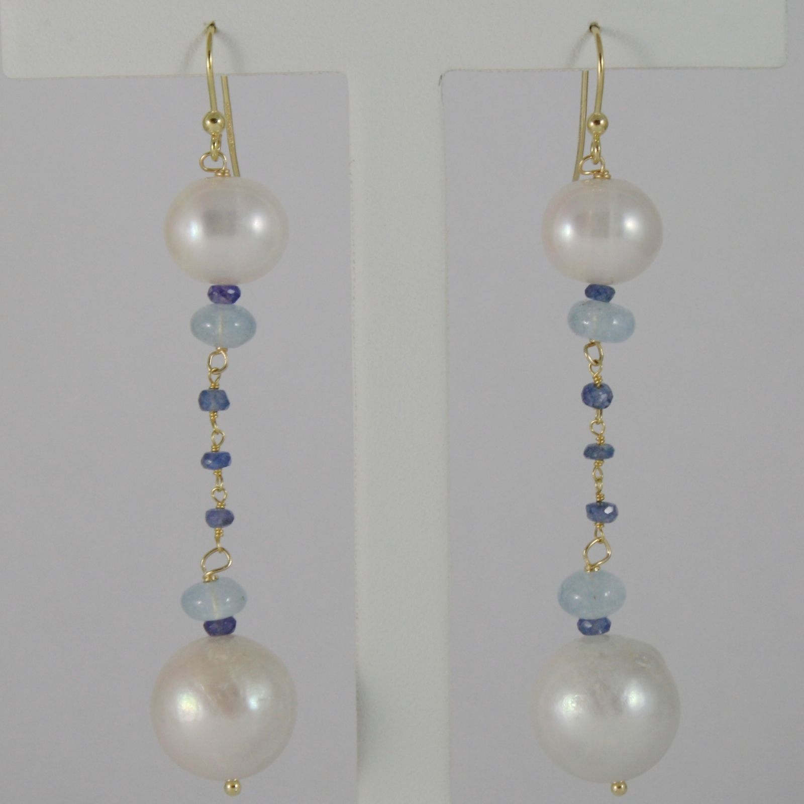 18K YELLOW GOLD PENDANT EARRINGS BIG 13 MM WHITE FW PEARLS, SAPPHIRE, AQUAMARINE
