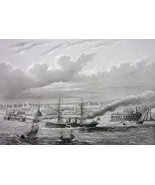 NEW YORK HARBOR Steamships - CIVIL WAR Era Antique Print Engraving - $28.69