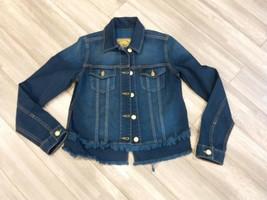 MICHAEL KORS  JEANS Denim Jacket Top fronge Cropped Long-Sleeve SZ-M Blue - $75.00
