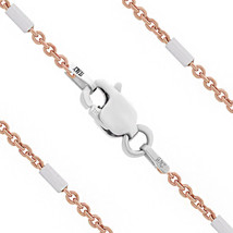 Women's 925 Sterling Silver 14k Rose Gold Bar & Cable Chain Necklace - $20.23+