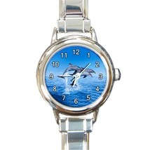 Ladies Round Italian Charm Bracelet Watch Dolphins Leaping Sea Marine 33... - $11.99