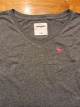 Abercrombie Kid's Girl's Gray Long Sleeve V-Neck Shirt - Size Small image 3