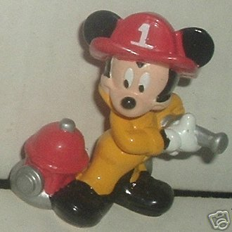 "MICKEY MOUSE Fireman PVC figure 2.5"", Disney Applause"