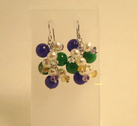 Sterling Jadeite Pearl and Crystal Cha Cha Earrings