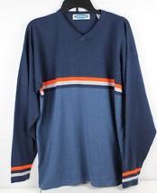 Express men's vintage blue orange striped sweater acrylic size L - $21.17