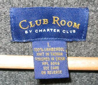 Mens Charter Club Room Gray V-Neck Wool Sweater Shirt L
