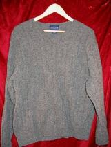 Mens Charter Club Room Gray V-Neck Wool Sweater Shirt L - £9.20 GBP