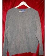 Mens Charter Club Room Gray V-Neck Wool Sweater Shirt L - $12.00