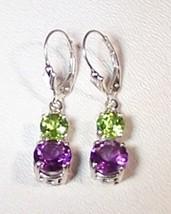Amethyst Peridot Sterling Silver Earrings 6.0 c... - $145.00