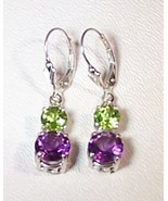 Amethyst Peridot Sterling Silver Earrings 6.0 cttw MADE IN USA - $145.00