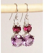 Amethyst Rhodolite Garnet Sterling Silver Earrings 7.0 cttw MADE IN USA - $145.00