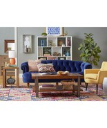 Royal Blue Grand Chesterfield Velvet Sofa,Nail Heads Accent,85''L. - $1,138.50