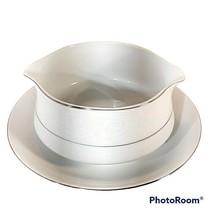 Southwicke Porcelain China w/Lace Silver Trim Japan Gravy Bowl Attached ... - $13.95
