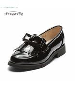 Women genuine leather brogue oxford shoes woman tassel bow simple handma... - $75.60