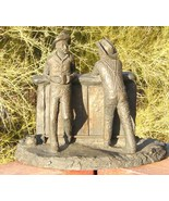 Vintage Big Old West Bar and Two Cowboys Standing Figure Black Western S... - $125.00