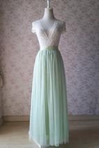 Floor Length Full Tulle Skirt Bridesmaid Long Tulle Skirt Back-bow Pastel Green  image 6