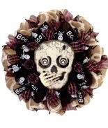 Whispering Skull Handmade Halloween Deco Mesh Wreath - ₨6,641.70 INR