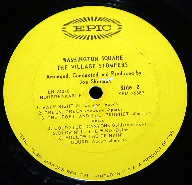 "The Village Stompers ""Washington Square""   LP"