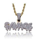 Iced Out Dripping SAVAGE Pendant With Rope Chain Necklace  - £230.21 GBP