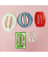 Lot of 5 Vintage Multicolored Mother of Pearl Ribbon Slide Belt Buckles - $22.28