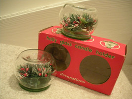 Christmas Candle Holders Holly and Berry in Glass Base 2 Vtg 60s Candle ... - $9.89