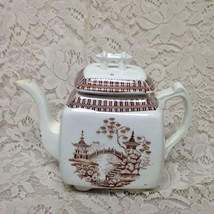 Antique, Rare, Brown Blue Willow Teapot  7.5in H x 9.5in W - $142.45