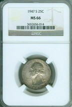 1947-S 25c WASHINGTON QUARTER NGC MS66 OLD HIGH GRADE COIN WITH LIGHT TO... - $35.99