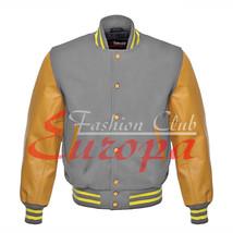 Original American Varsity Real Leather Letterman College Gray Wool Jacket - $87.00