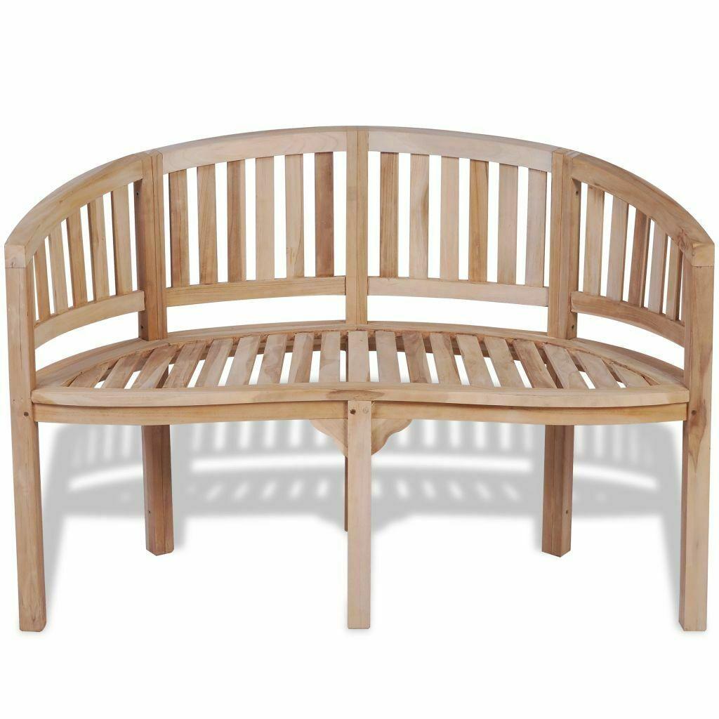 vidaXL Solid Teak Wood Bench Banana Shape 2-Seater Outdoor Garden Chair Seat