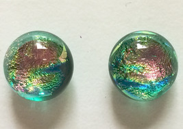 Aquatic Sparkling TURQUOISE BLUE, Pink, & GOLD 10mm Fused Dichroic Glass... - $12.00