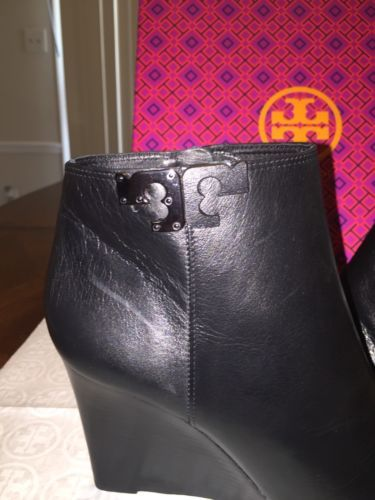 bff1d54af ... NIB Tory Burch Lowell Leather Wedge Bootie in Black Size 9.5 ...