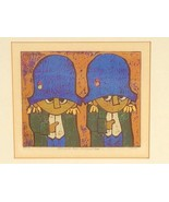 Mid Century Modern Linocut Al Robi art Everyone but me and thee Napoleon - $257.86