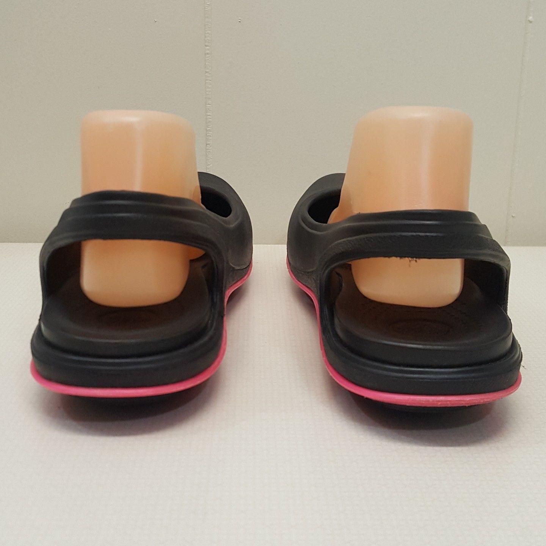 Crocs 2 Tone 10W Shoes Loafers Black Pink Flats Slingback Slip On Rubber Comfy