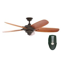 Indoor Oil Rubbed Bronze Ceiling Fan with Remote Control Oak Blades Spee... - €188,36 EUR