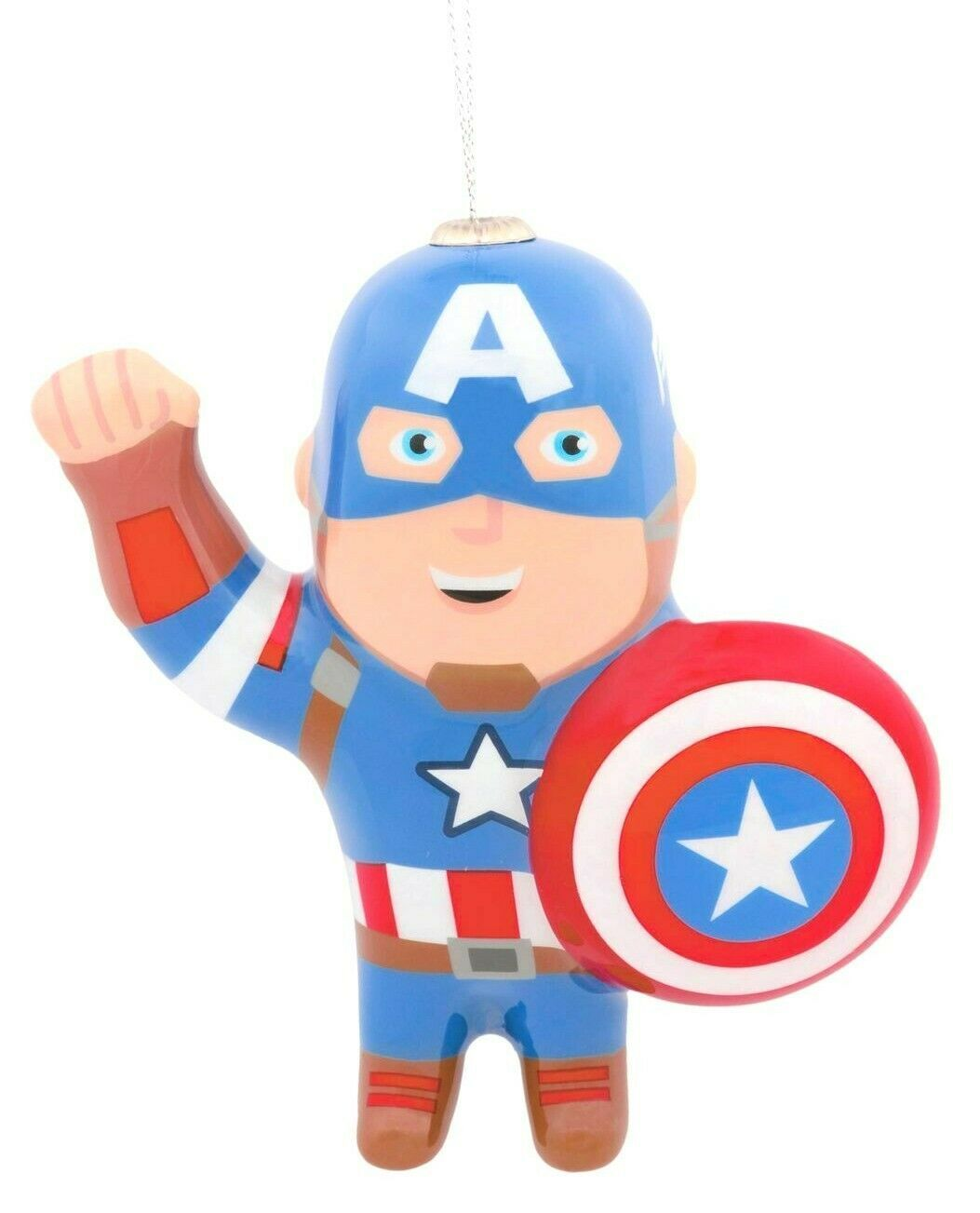 Hallmark Marvel Captain America Decoupage Shatterproof Christmas Tree Ornament